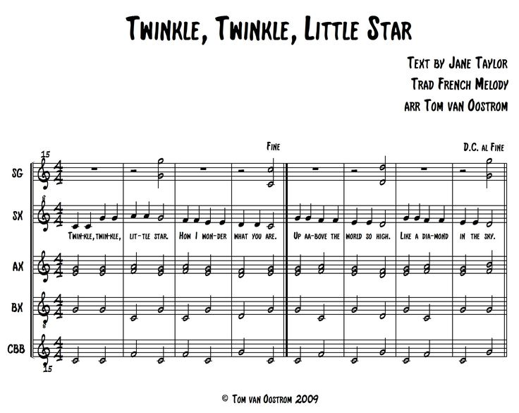 """Twinkle, Twinkle, Little Star"" Orff Arrangement - Tom's Orff Arrangements - lots of great arrangements for orff ensemble - categorized by grade level and other"