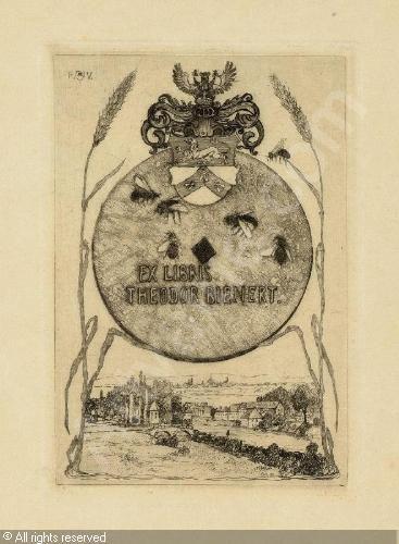 Bookplate by Heinrich Johann Vogeler for Theodor Bienert, ??