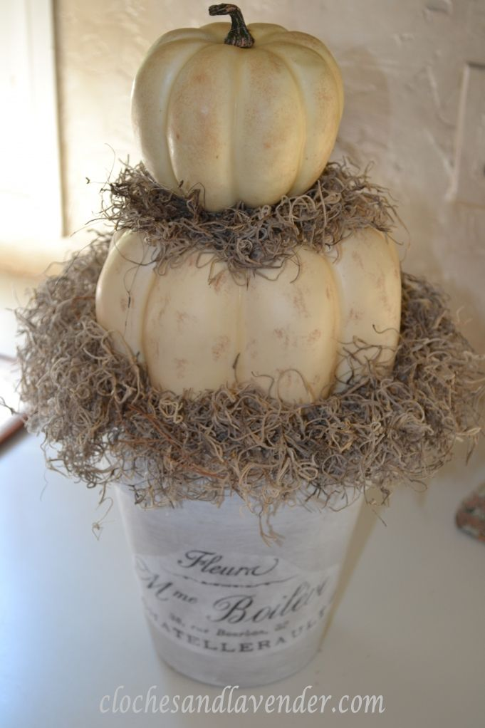 White pumpkin topiary with moss