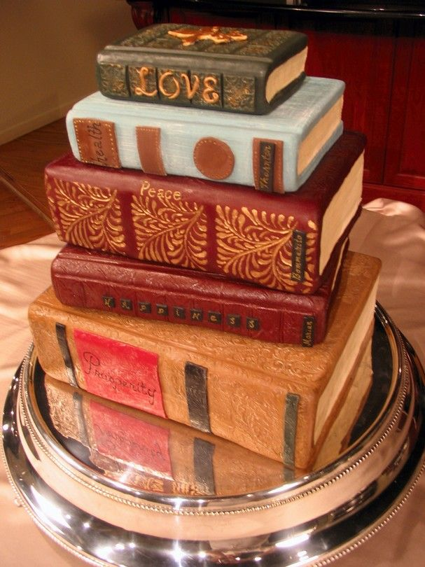 Tiered book cake for a book club party or a book-themed party.