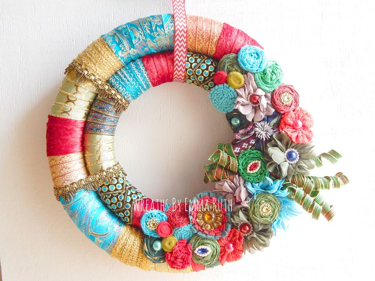 Whimsical Bohemian Double Wrapped Christmas Wreath made by Wreaths By Emma Ruth
