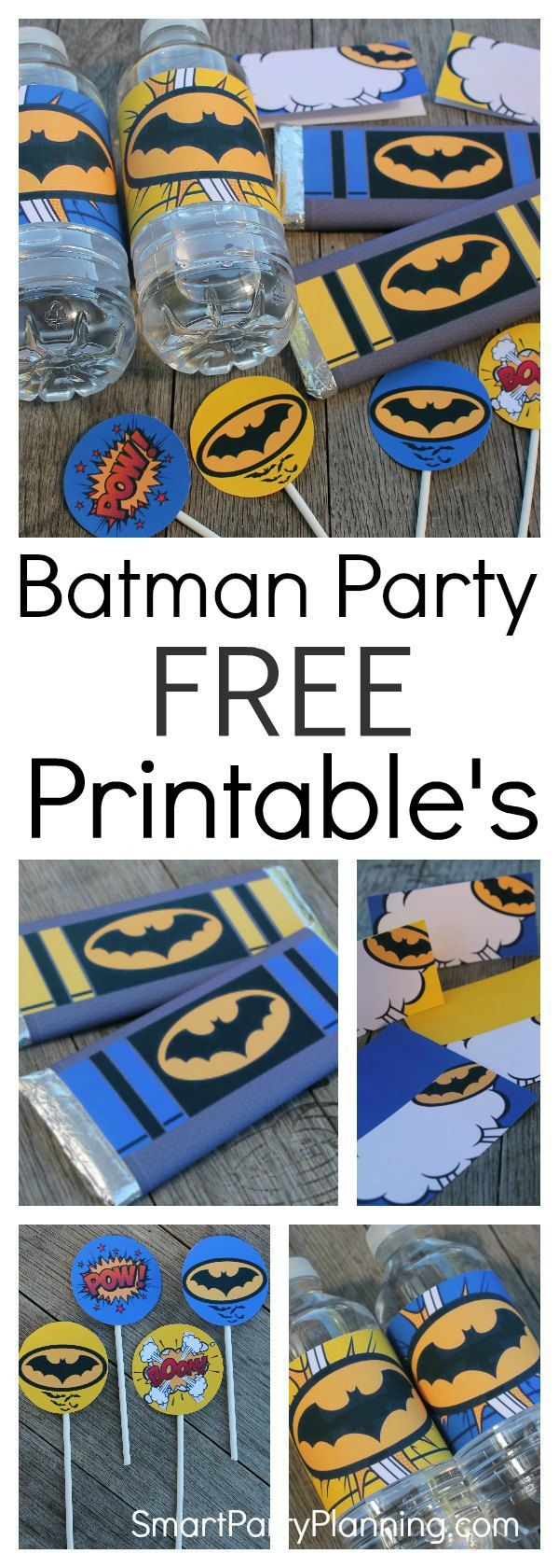 These free Batman printable's are perfect for a Batman or superhero party. The set includes tent labels, cupcake toppers, water or soda bottle labels and Hershey bar wrappers which can be used as party favors. Just by using the set, you are well on your w