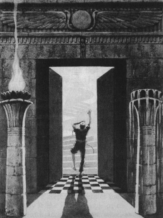 Doorway to the realm of light, between the pillars of fire and water, from The Lost Keys of Freemasonry by Manly P. Hall