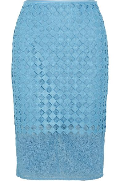 Diane von Furstenberg - Lace Pencil Skirt - Blue - US10