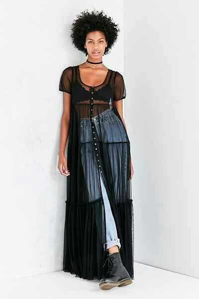 Tulle black dress over jeans