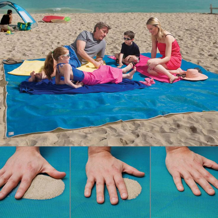 OMG I WANT ONE! Giant Sandless Beach Mat. Sand and water are instantly filtered through as soon as they fall on this mat's surface - and it can't re-emerge back through the bottom! I HAVE TO GET ONE OF THESE THIS YEAR
