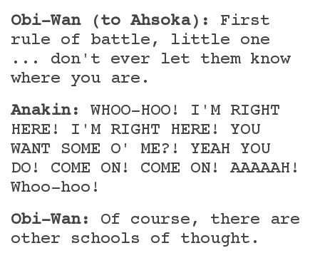 Anakin and Obi-Wan teaching Ahsoka about combat.