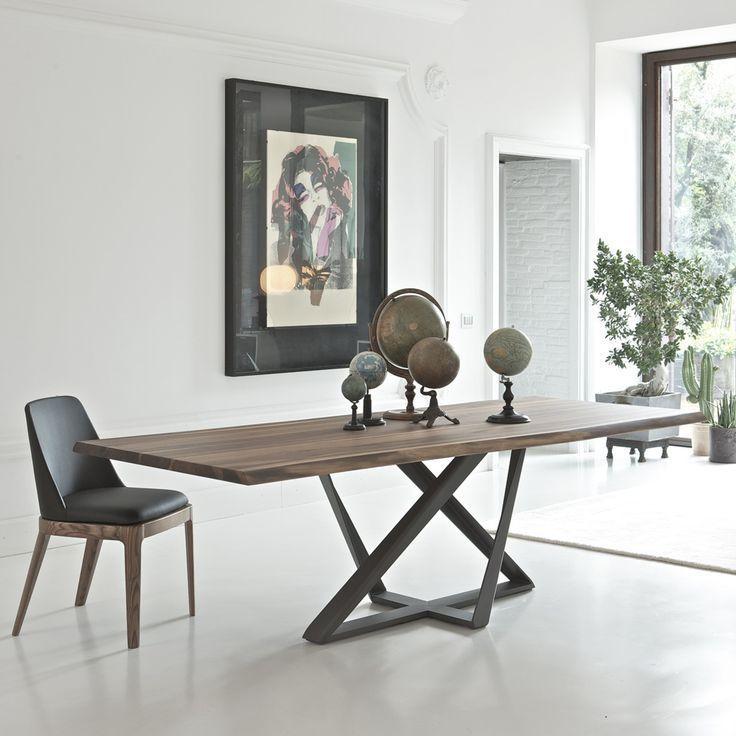 Millenium Tisch Von Bontempi Metallgestell Massivholzplatte