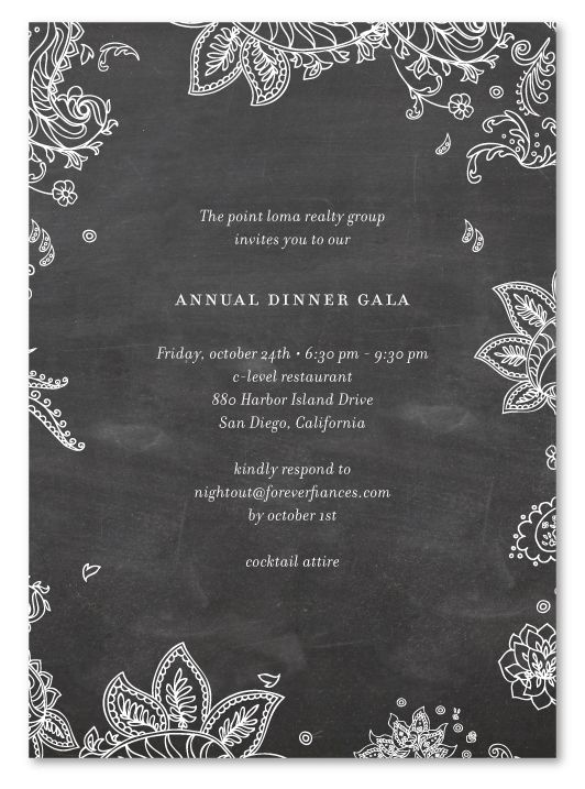 Paisley (chalkboard edition) Gala invitation, Corporate events - Formal Business Invitation