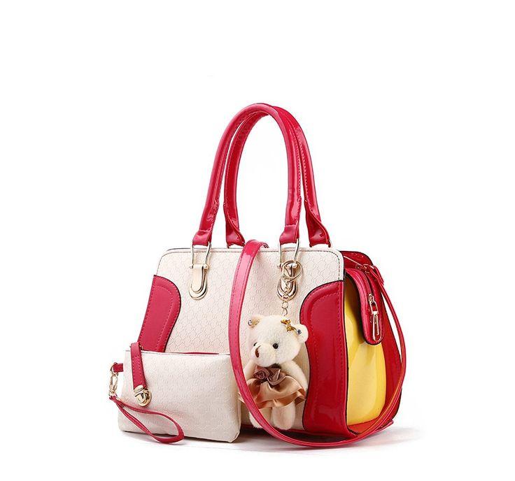 Amazon   Nicole&Doris 2016新しいファッションレジャー女性/レディース/女性のバッグシンプルなショルダーメッセンジャーバッグハンドバッグ財布(Red)   ハンドバッグ