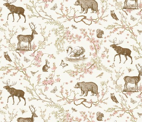 Woodland Spring Toile (Sepia) Fabric By Nouveau_bohemian On Spoonflower    Customu2026 Part 41
