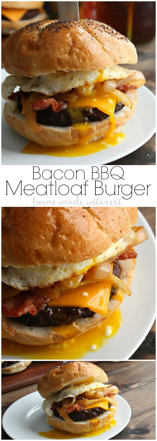 This grilled Bacon BBQ Meatloaf Burger is a tender and juicy burger twist on a classic comfort food, meatloaf! The burger patties are made with a delicious meatloaf base basted in BBQ sauce and topped with crispy bacon and a fried egg! An awesome grilled burger recipe that is perfect for summer, 4th of July, and Labor Day cookouts! BrightBites | AD