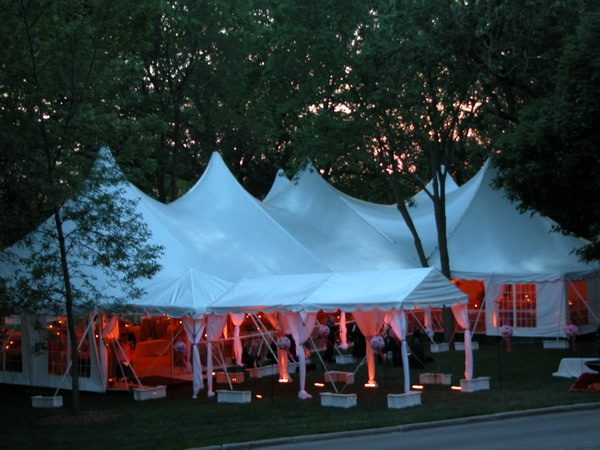 Century Pole Tent & Marquee Tent with pink uplighting