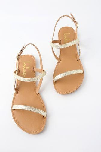 c6ab01e71ce7 Rika Champagne Metallic Flat Sandals