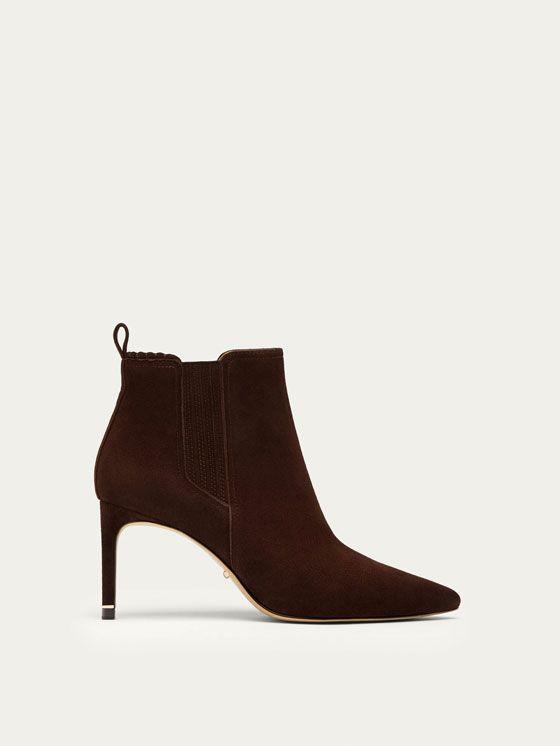 BOTIN DE TACÓN PIEL ANTE MARRÓN de MUJER - Zapatos - Ver todo de Massimo Dutti de Otoño Invierno 2017 por 99.95. ¡Elegancia natural!