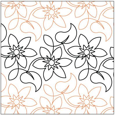 Wall Flower quilting pantograph pattern by Lorien Quilting