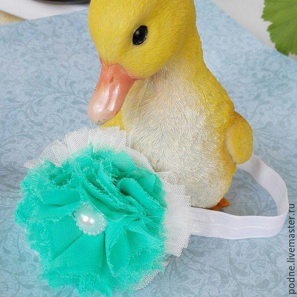 Купить повязка для волос - бирюзовый, повязка на голову, повязка для волос, повязка для девочки, повязка с цветком