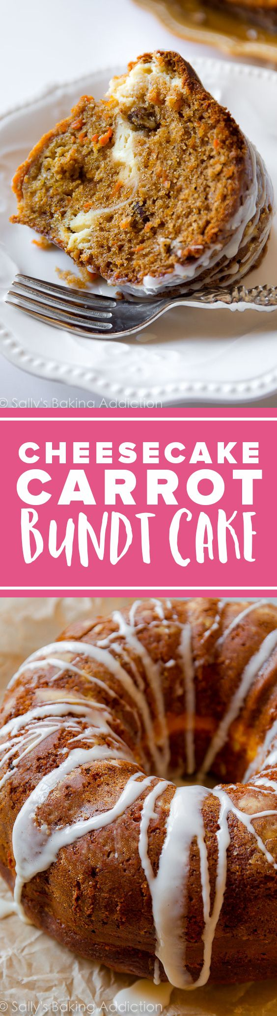 Cheesecake carrot cake bundt cake recipe for Easter and spring baking! The BEST super moist carrot cake! Recipe on sallysbakingaddiction.com