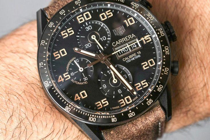 """TAG Heuer Carrera Calibre 16 Day-Date Chronograph Black Titanium Watch Hands-On"" via @watchville"