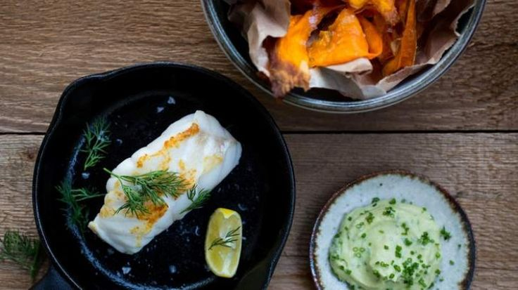 Pan-roasted ling with sweet potato chips and avocado yoghurt