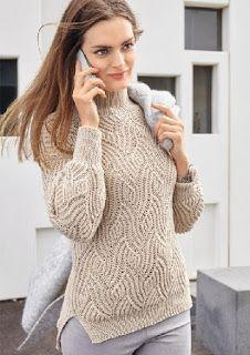 Кремовый свитер с рельефным волнообразным узором