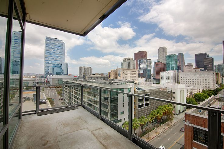 large balcony with view of downtown l a  u0026 39 s south park