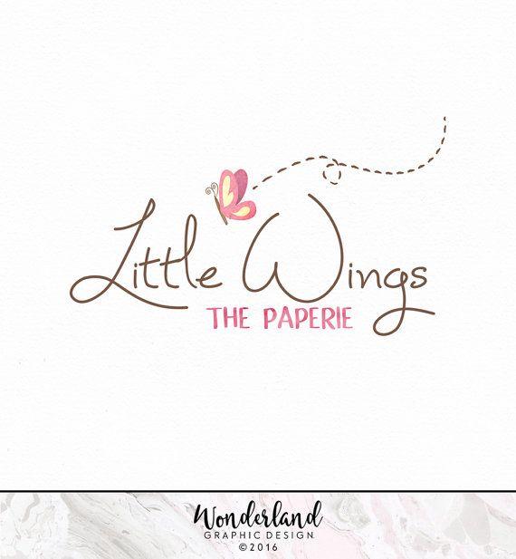 Pre-made Logo, Butterfly Logo, Watercolour Logo, Pink Logo, Small Business Logo, Logo Design, Feminine Logo, Pretty Logo, Whimsy Logo