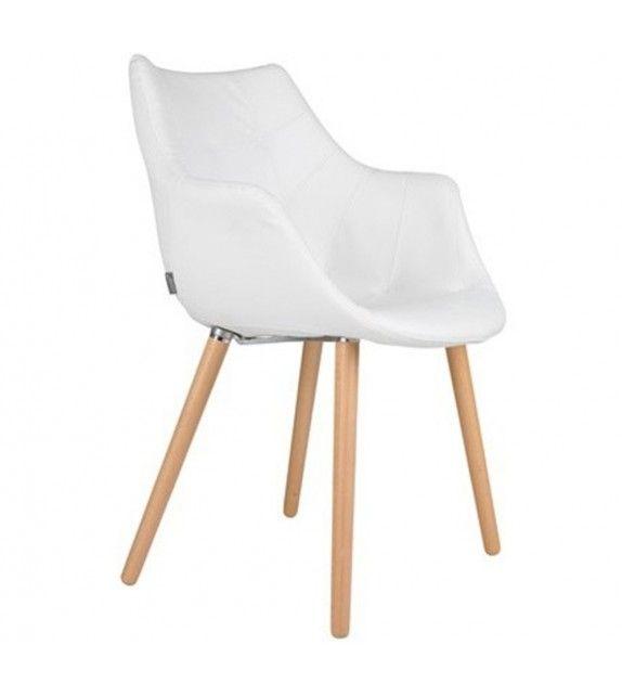 Chaise blanche design et épurée très confortable au style scandinave de la marque hollandaise Zuiver sur MonDesign.com #white #scandinave #zuiver #desk #twelve #wood #blanc #chair #chaise #fauteuil #style #interiordesign #cuir