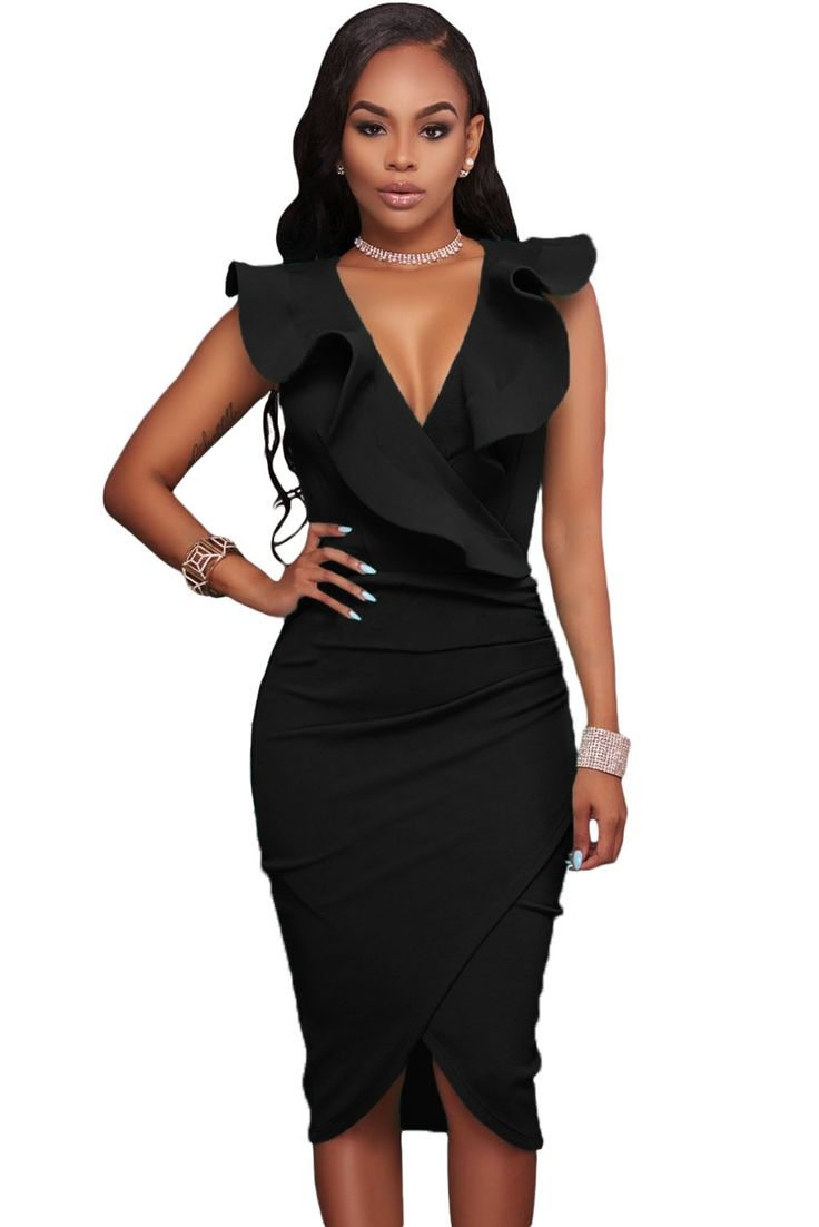 Sukienka czarna asymetryczna falbany tuba