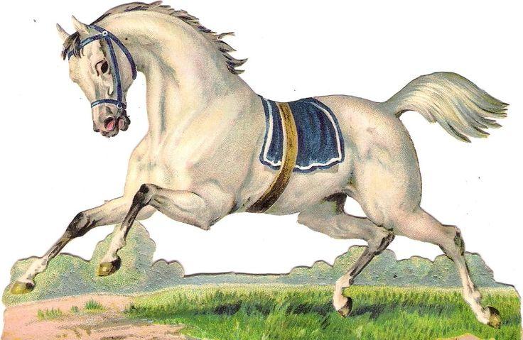 Oblaten Glanzbild scrap diecut chromo Pferd 14,3 cm arab horse  cheval Araber:
