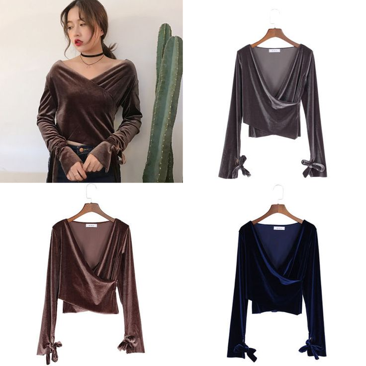 Womens Solid Velvet Lace Up Long Sleeve Blouse V Neck Off Shoulder Bodycon Tops