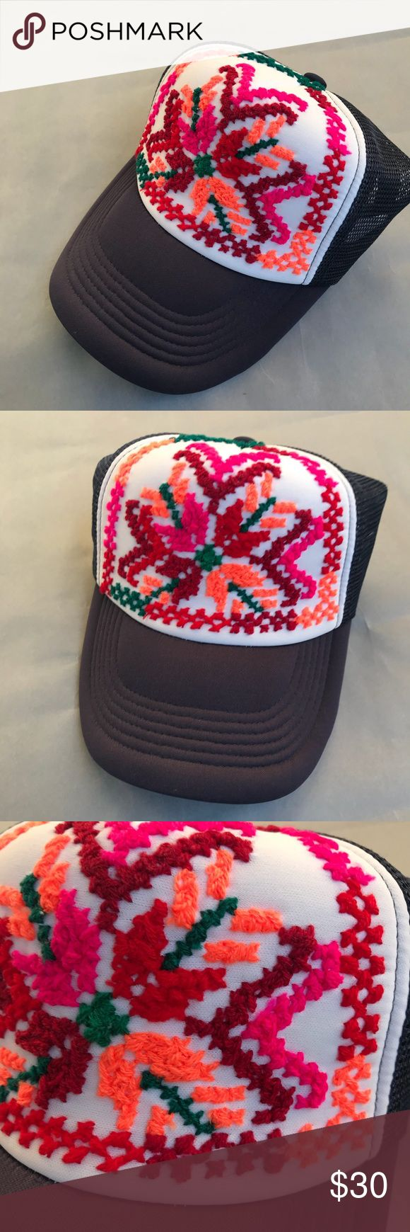 Embroidered hat Bought in Mexico, but never worn. The embroidered flower is from the Huasteca region of San Luis Potosí. Accessories Hats