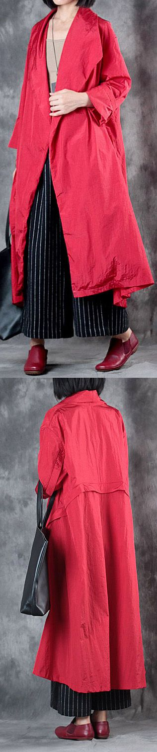 $102.00-autumn winter red wrap coat plus size long sleeve big cardigan #coat#llongcoat#omychic