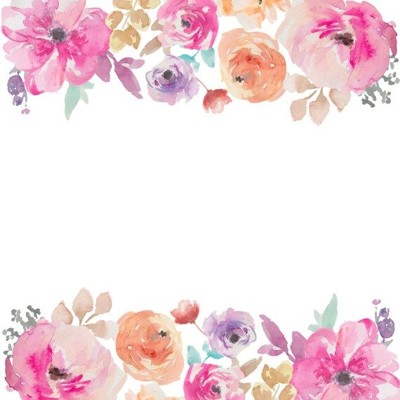 Watercolor Flowers Border PNG Free Watercolor flower