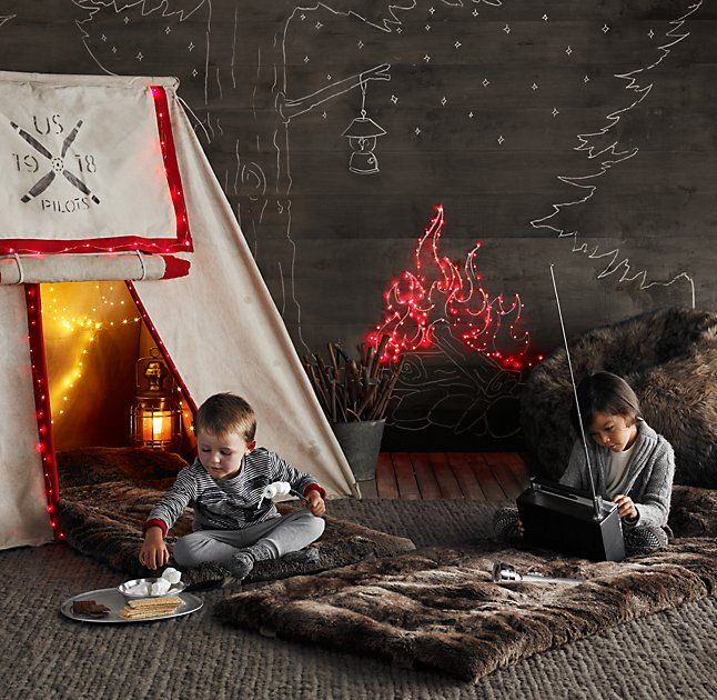 RH Baby & Child's Distressed Canvas Pitch Tent:Calling all flyboys! Stenciled with a US Air Force-inspired logo, our distressed cotton canvas tent has the look and feel of vintage WWI surplus. Collapsible aluminum poles make it easy for parental support troops to assemble and store.