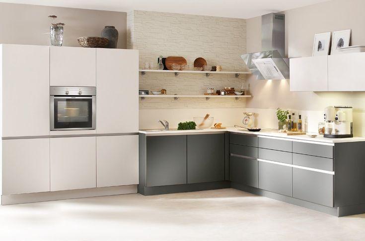 Nolte Matrix grifflose Küche weiß grau