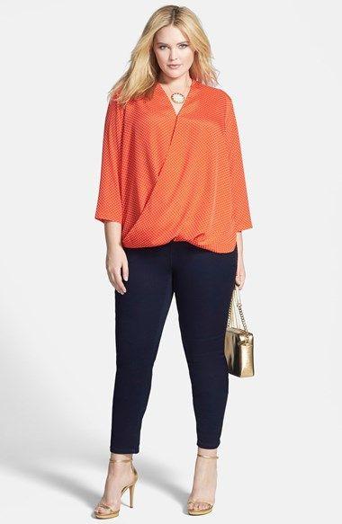 Plus Size Fashion - Plus Size MICHAEL Michael Kors 'Adriatic Dot' Surplice Crepe Blouse (Plus Size)   Nordstrom