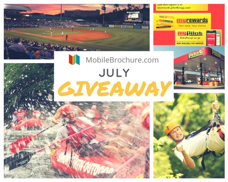 Register on MobileBrochure.com for a chance to win: • 2 tickets to Wahoo Ziplines • 2 tickets to Tennessee Smokies Baseball • 2 passes to Smoky Mountain Outdoors Whitewater Rafting  • AND a gift card to Pilot Flying J!!!
