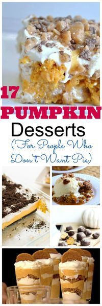 17 of the best pumpkin dessert recipes for the holidays and Thanksgiving for those who don't want pumpkin pie that are healthy or easy. Pumpkin recipes include things like cake, parfaits, cobbler, cheesecake, candy and more.   #pumpkinpie #pumpkindesserts