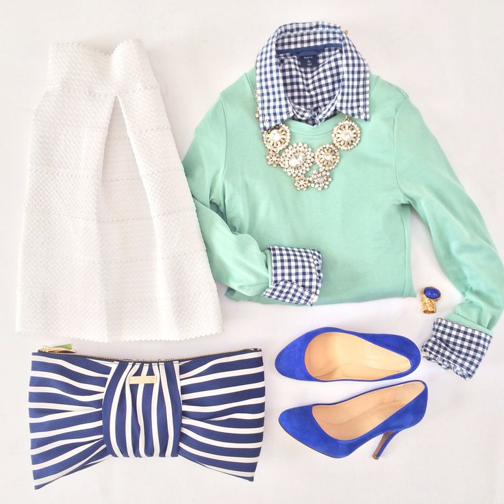 Mint sweater top, gingham button up shirt, statement necklace, white skirt and striped bow clutch purse // More outfit layouts here: http://www.stylishpetite.com/search/label/Outfit%20Layouts