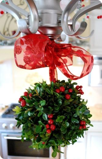 "Boxwood Kissing Ball: Supplies:  a 4"" Styrofoam ball, long pin with circular top (I used a leftover turkey lacer), 40+ six inch boxwood clippings, hot glue, red berries, decorative ribbon."