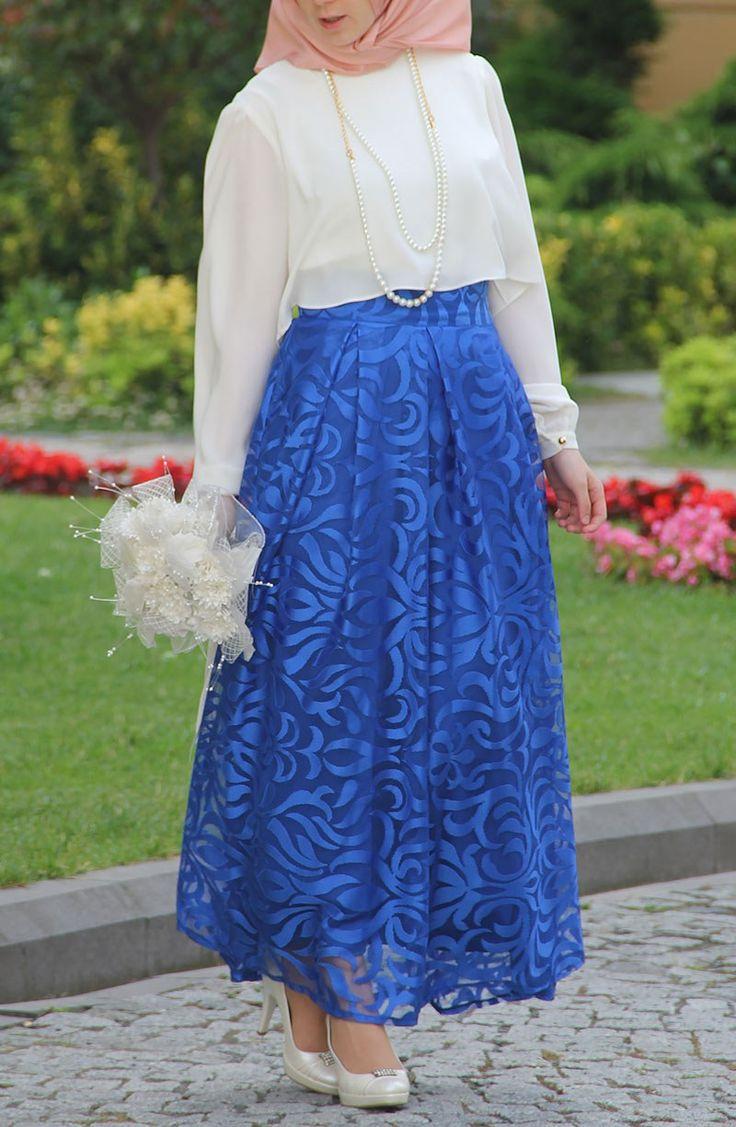 Dantel Tasarım Prenses Etek - Mavi