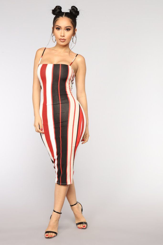 3fef3b3ab0ca9 Ezy Rider Striped Dress - Red | Fashion Nova | Dresses | Striped ...