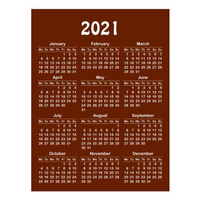 2021 Calendar Template Postcard