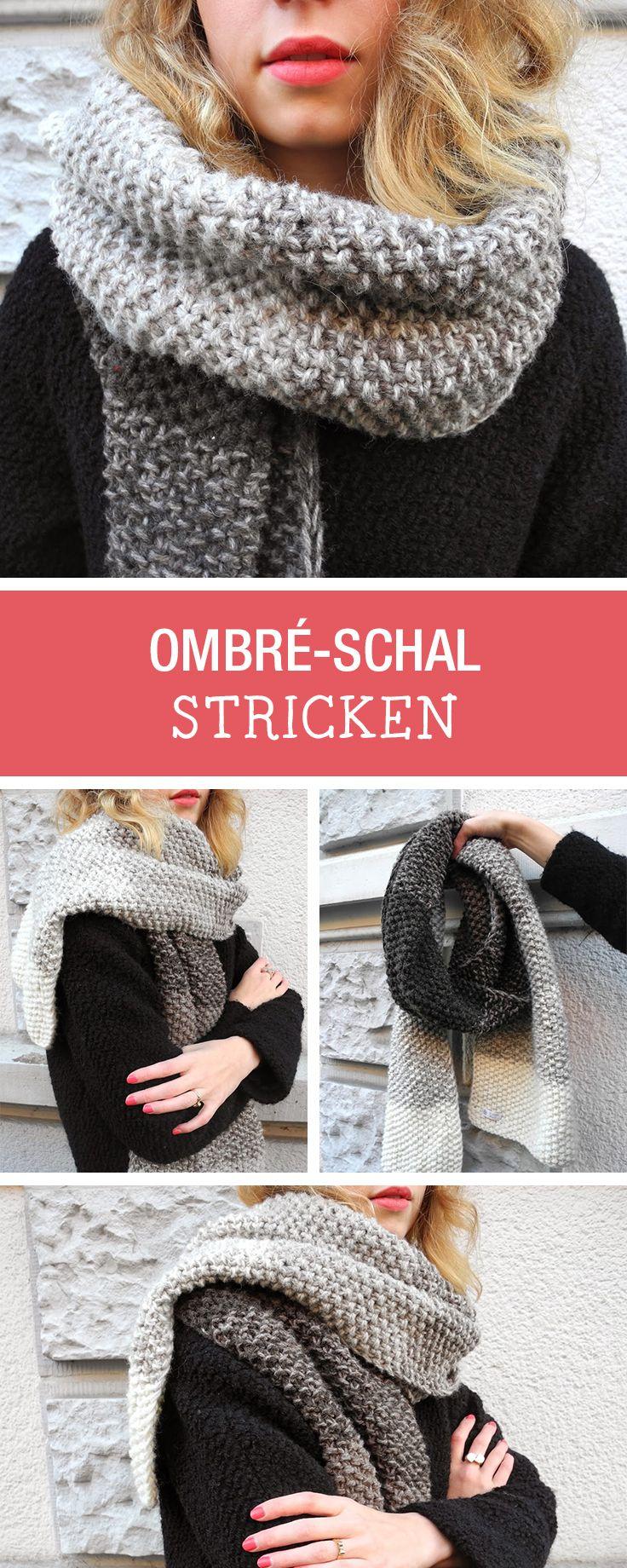 Strickanleitung für einen kuscheligen Schal, Mode stricken / knitting tutorial for an ombre scarf via DaWanda.com