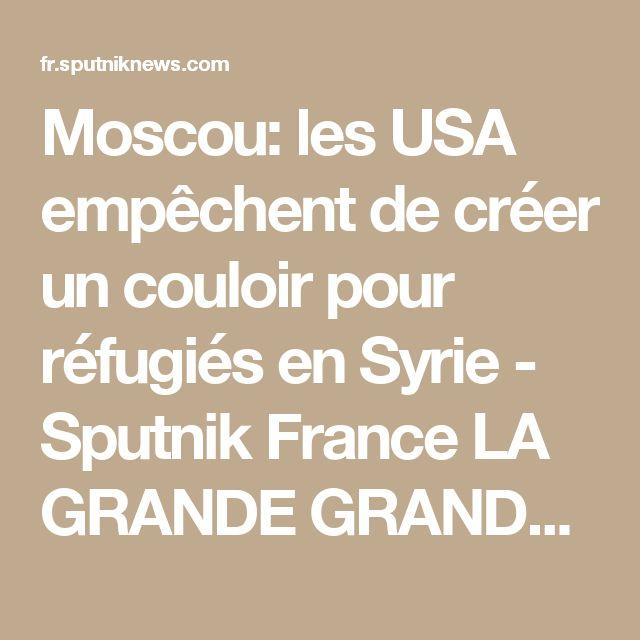 Moscou: les USA empêchent de créer un couloir pour réfugiés en Syrie - Sputnik France  LA GRANDE GRANDE DEMOCRATIE DU MONDE  OCCUPE DES PAYS SOUVERAINS EN FAISANT REGNIER LE CRIME ET LA FAIM SUR DES POPULATION CIVIL  EN SPONSORISANT LES TERRORISTES