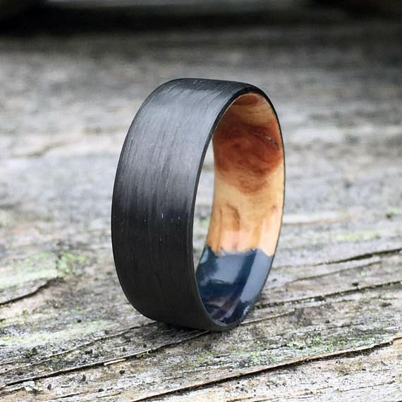 Carbon Fiber Ring Resin Wood Ring Wood Inlay Ring Carbon Fiber Rings Wooden Rings Engagement Titanium Wedding Rings