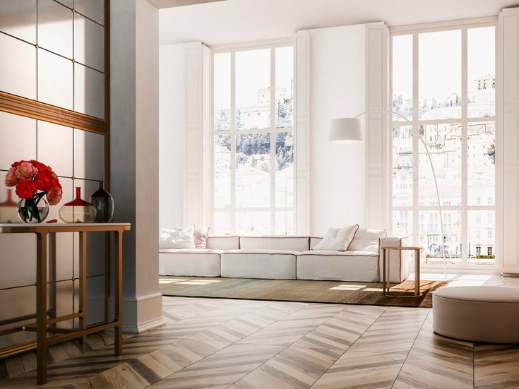 Porcelain stoneware flooring with wood effect CHEVRON by Ceramiche Refin