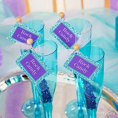 Rock candy swizzle sticks with cute-n-colorful drink tags = party planner look on budget!