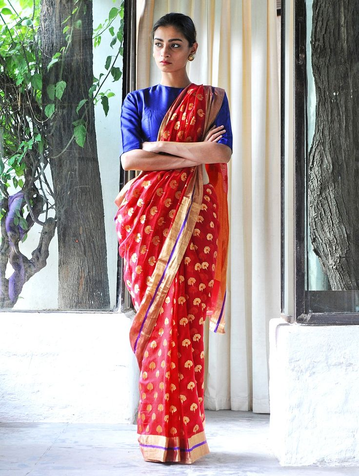 Tanjore Red Cotton Silk Zari Handwoven Saree by Raw Mango